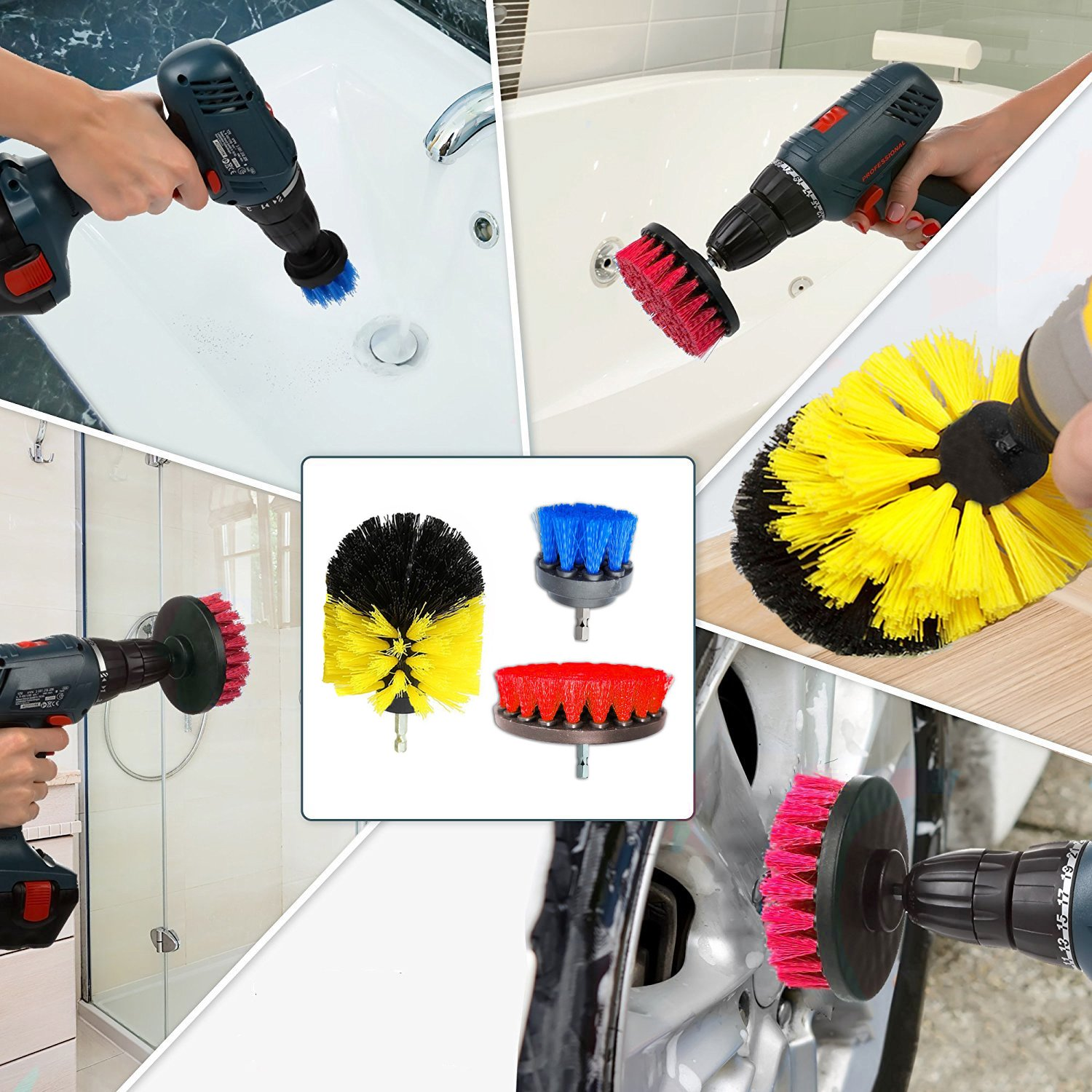 Sadun Scrub Brush Drill Attachment Kit - All Purpose Power Scrubber Brush Cleaning Kit for Shower Door, Bathtub, Toilet, Tile, Grout, Rim, Floor, Carpet, Bathroom and Kitchen Surfaces-3 color