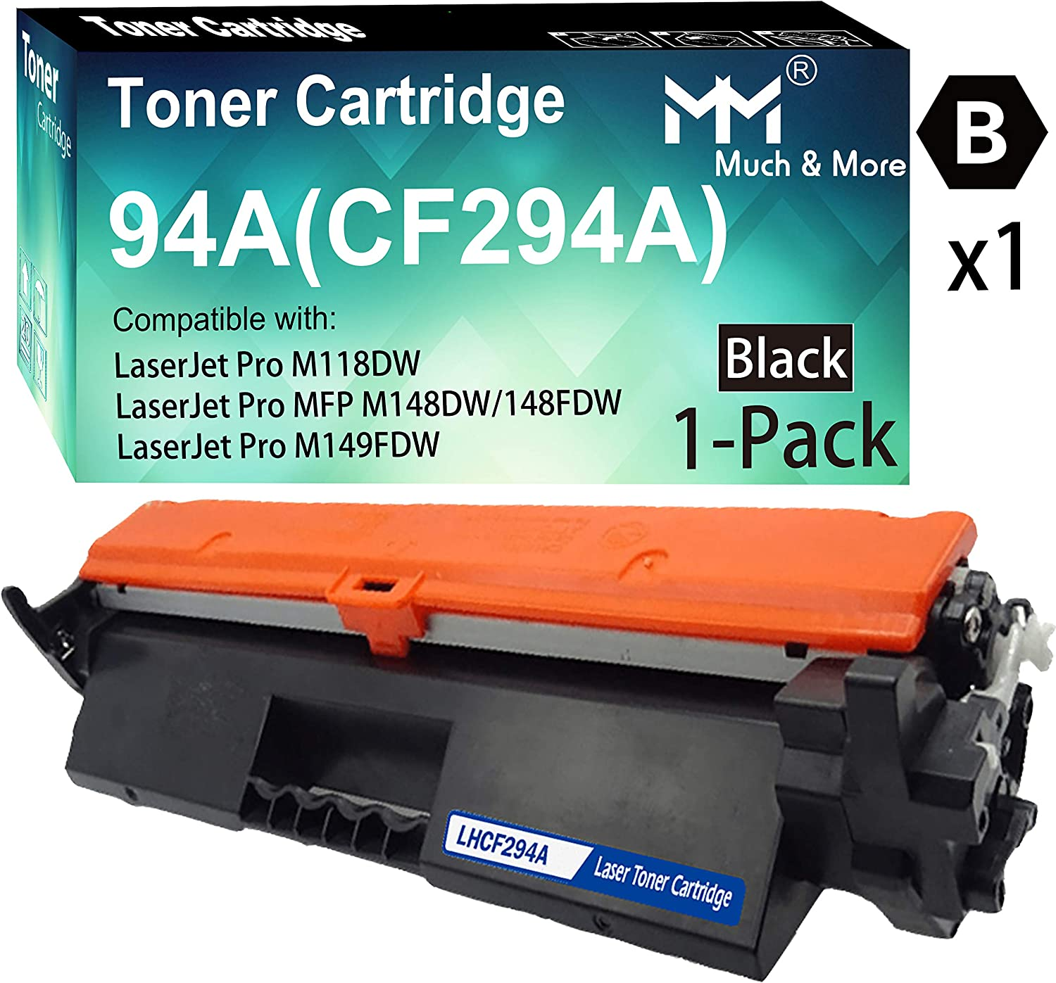 (1-Pack, Black) Compatible 294A 94A Toner Cartridge CF294A Used for HP Laserjet Pro M118dw MFP M148dw MFP M148fdw M149fdw Printer, by MuchMore