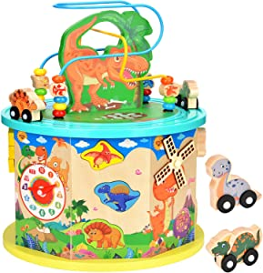 Amagoing Large Dinosaur Activity Cube, Baby Educational Toys Wooden Activity Center Bead Maze with Shape Sorter for Kids 11 in 1