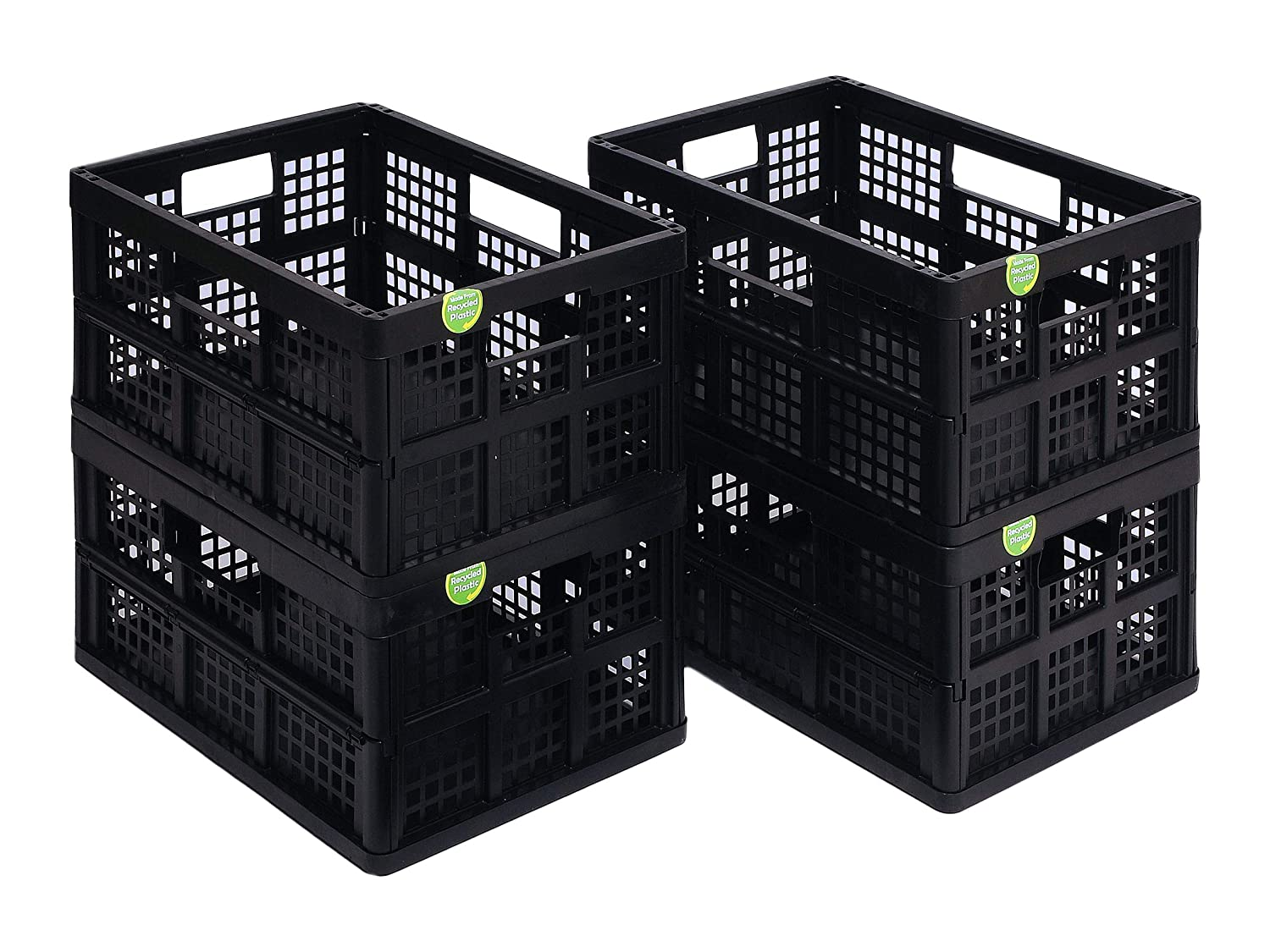 Pack of 4 in Card Black Really Useful Products 32 Litre Folding Box Recycled