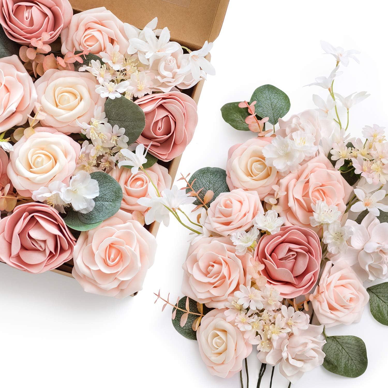 Amazon Com Ling S Moment Artificial Flowers Combo For Diy Wedding Bouquets Centerpieces Arrangements Party Baby Shower Home Decorations Vintage Blush Home Kitchen