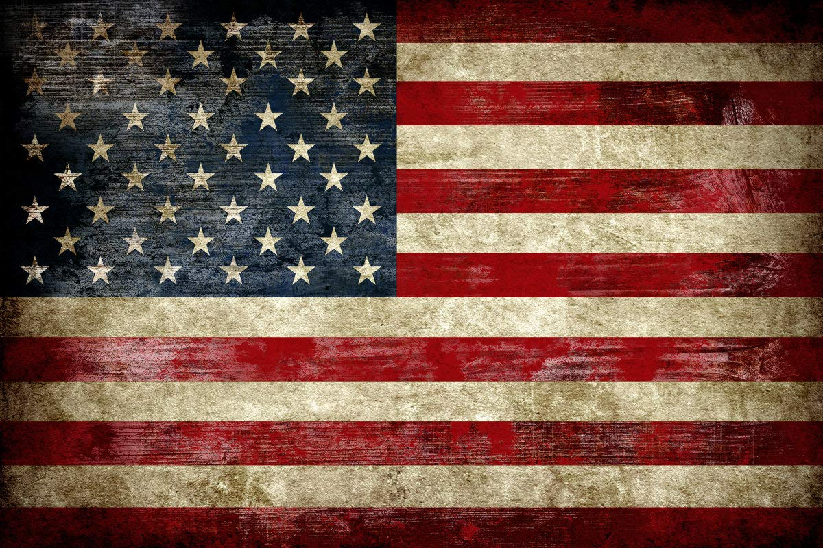 "Pyradecor Large Old Vintage American Flag Canvas Prints Wall Art Pictures Paintings for Living Room Office Home Decorations Modern Abstract Landscape Artwork 24"" x 36"""