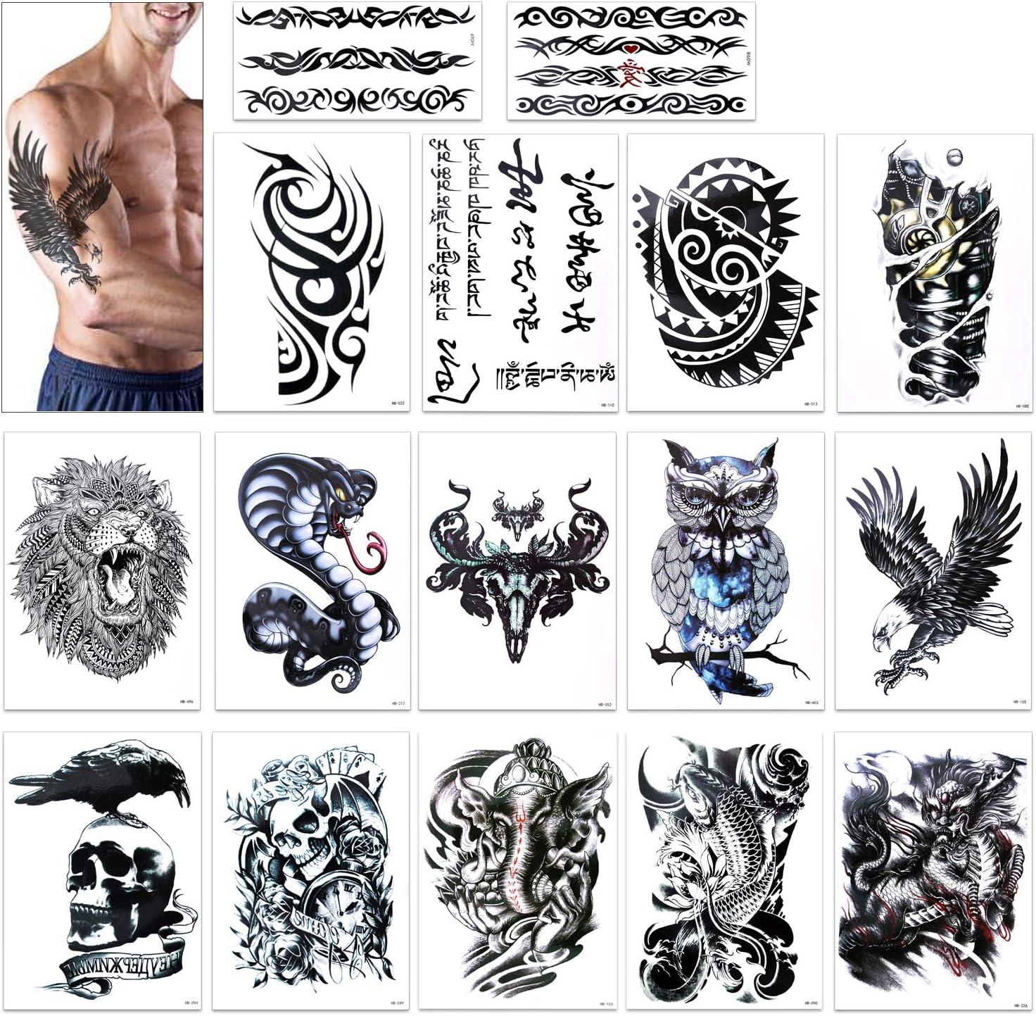 Tatuajes temporales para adultos hombres, Konsait Grande Tatuaje ...