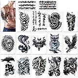 Tatouage temporaire pour homme femmes enfant, Konsait Manchette tatouage Tattoo noir body tattoo Sticker bras Tatouages éphémères, Lion, crâne mort,dragon, Eagle Hawks symboles tribaux