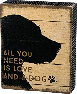 Primitives by Kathy 33716 Rustic-Inspired Distressed Box Sign, 5 x 6-Inches, Love and a Dog