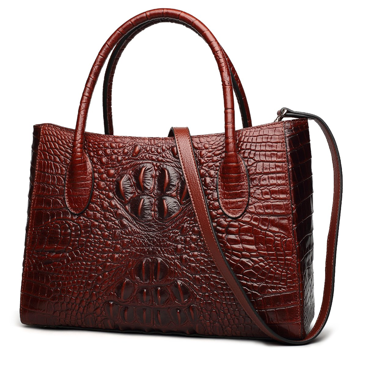 ZOOLER GLOBAL Genuine Leather Handbag Purses for Women Crocodile Embrossed Red