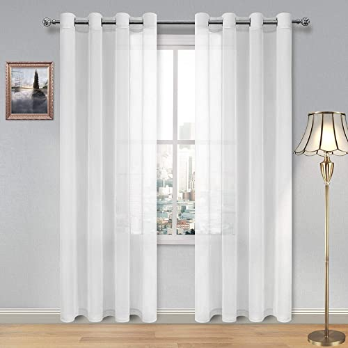 DWCN White Sheer Curtains Linen Look Grommet Long Curtain for Bedroom Voile Sheer Drapes Set of 2 Panels, 52 x 108 Inch Length