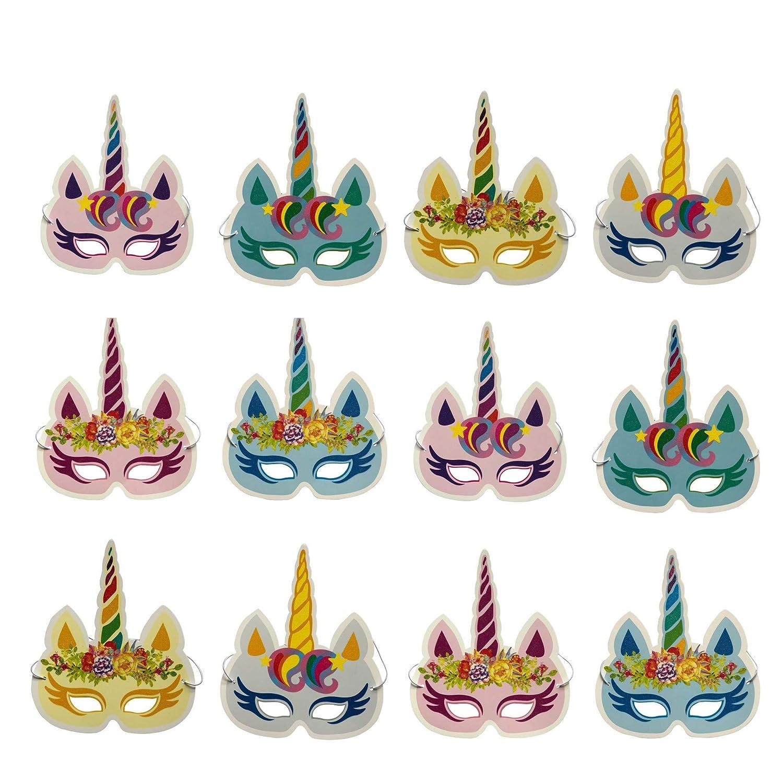 DUOPHY 12 Stück Regenbogen Einhorn Masken Kindergeburtstagsfeier Einhorn Party Supplies