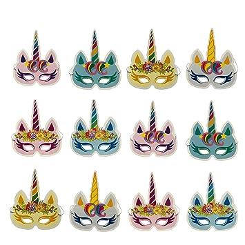 DUOPHY 12 piezas Rainbow Unicorn máscaras Kids Birthday Party Unicorn Party Supplies: Amazon.es: Juguetes y juegos