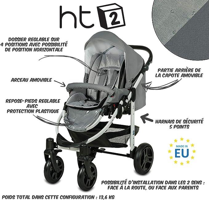 dtyjhu Chariot ISOFIX Interface si/ège Auto Haut de Gamme 3-en-1 Poussette b/éb/é 87cm Haut Paysage Voiture lumi/ère Livraison Gratuite