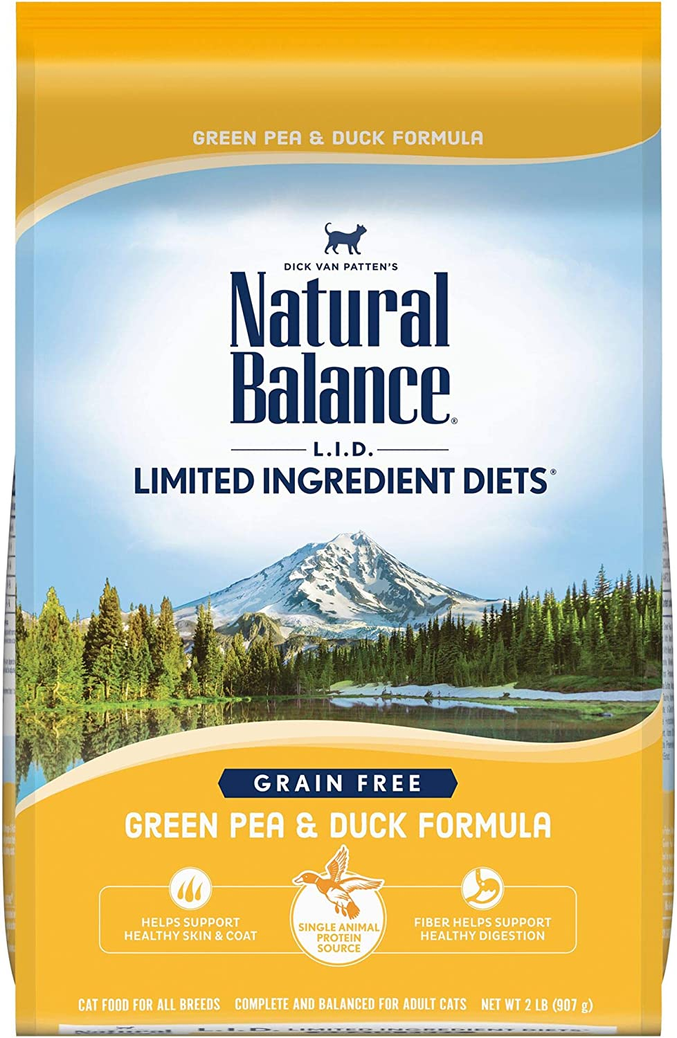 Natural Balance L.I.D. Limited Ingredient Diets Dry Cat Food, Green Pea & Duck Formula, 2 Pounds, Grain Free