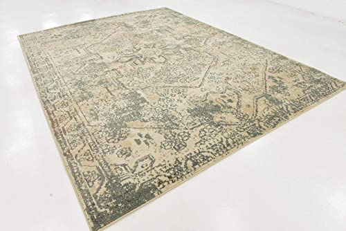 Unique Loom Tuareg Collection Vintage Distressed Traditional Cream Area Rug 9 0 x 12 0