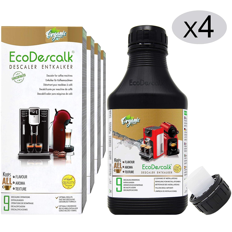 EcoDescalk Ecológico Concentrado (4x9 Descalcificaciones). Descalcificador 100% Natural. Limpiador para Cafeteras. Todas Las Marcas: Bosch, Nespresso, ...