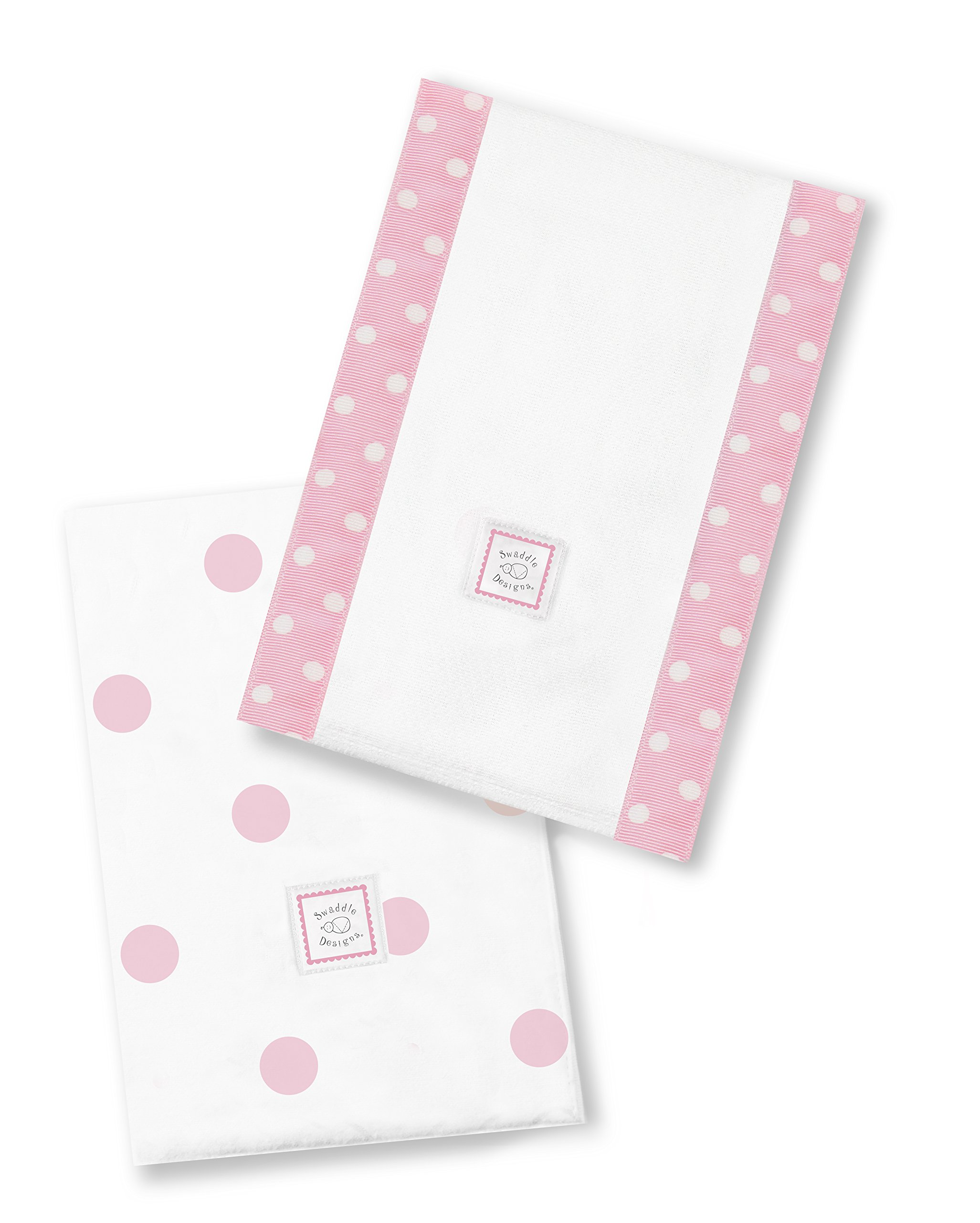 SwaddleDesigns Baby Burpies, Set of 2 Cotton Burp Cloths, Pink Big Dots by SwaddleDesigns
