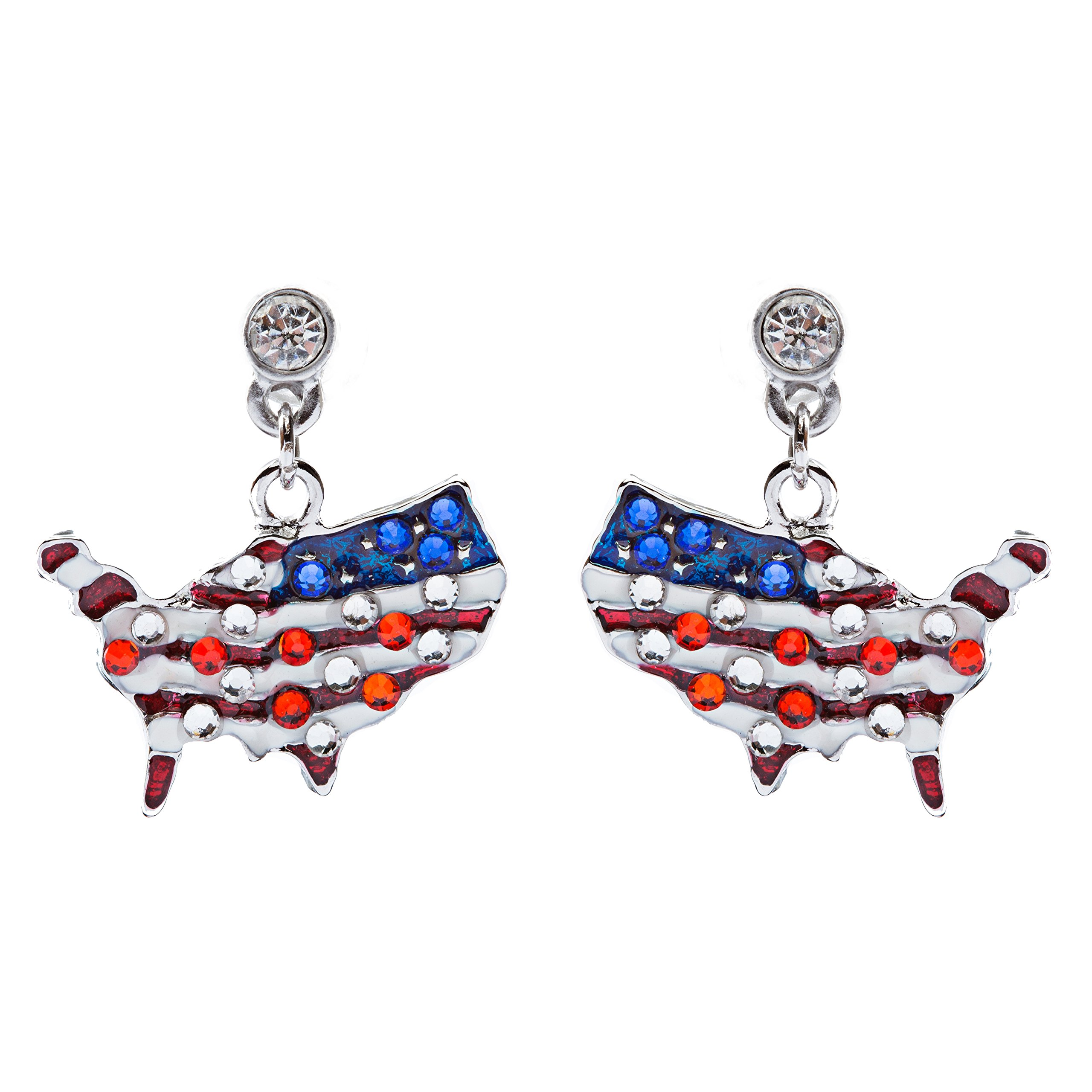 ACCESSORIESFOREVER Patriotic Jewelry Crystal Rhinestone American Flag Dangle Earrings E762 Silver
