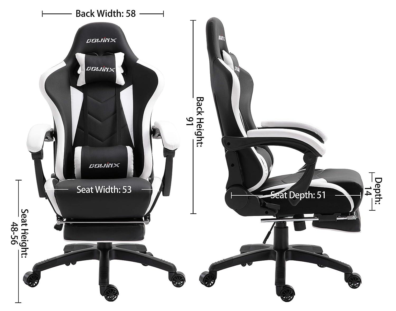 Fauteuil de Style Course Dowinx Chaise Gaming Ergonomique pour Chaise de Jeu pour Ordinateur avec Support Lombaire de Massage Noir Chaises en Cuir E-Sports Gamer avec Repose-Pieds R/étractable