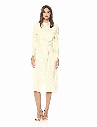 968da150 C/Meo Collective Women's WRAP Front Button Down Shirt Dress W Side TIE,  Honey