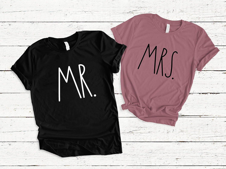 429a2b9afcb40 Amazon.com: Mr and Mrs Bride and Groom Matching T Shirts, Custom Mr ...