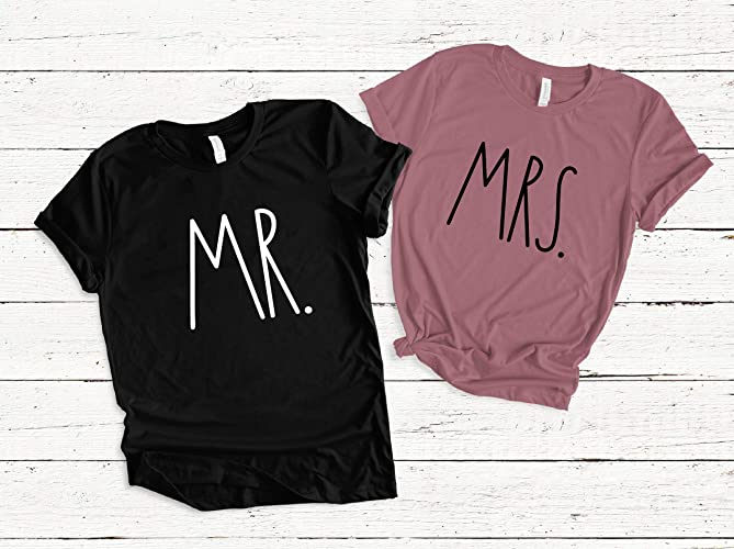 06839ac2d4 Amazon.com: Mr and Mrs Bride and Groom Matching T Shirts, Custom Mr Mrs  Hubby Wifey Shirts, Wedding Engagement Honeymoon Gift: Handmade