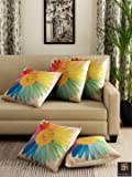 """Romee Multicolor Polyester Jute Fabric California Flower Print Cushion Cover 16"""" x 16"""" (Set of 5)"""