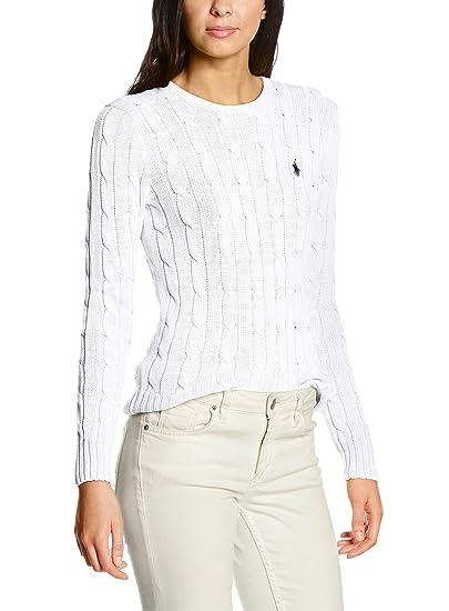 Polo Ralph Lauren Julianna LS SWT suéter, Weiß (White B1E05), 40 ...