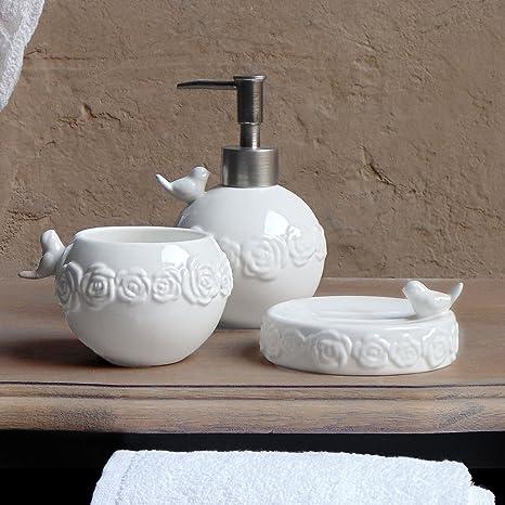 Accessori Bagno Blanc Mariclo.Set Da Bagno Shabby Chic In Ceramica Garden Collection Blanc Mariclo Colore Bianco