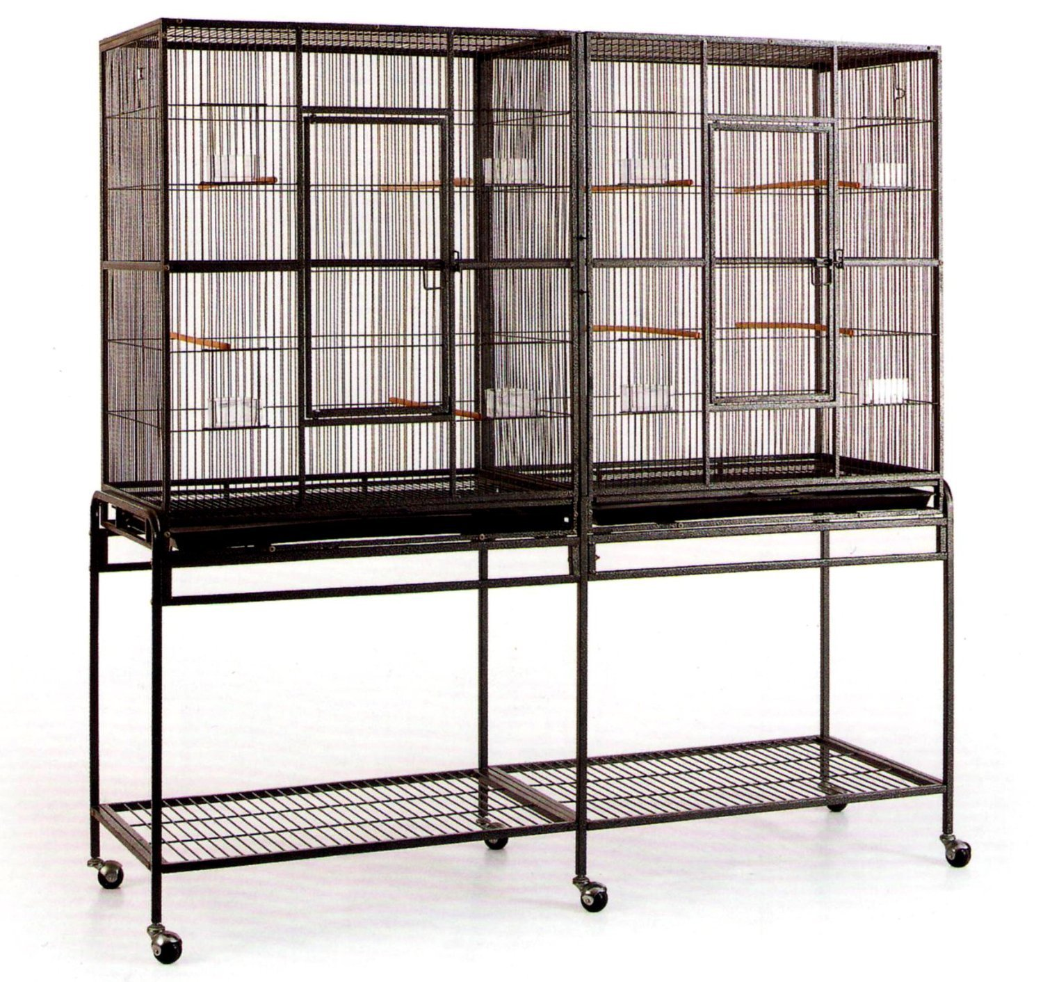 Double Large 3 Level Ferret Chinchilla Sugar Glider Small Animal Wrought Iron Double Cage With Slide Out Divider 63''Length x 19''Depth x 64''Height With Removable Rolling Stand on Wheels *Black Vein*
