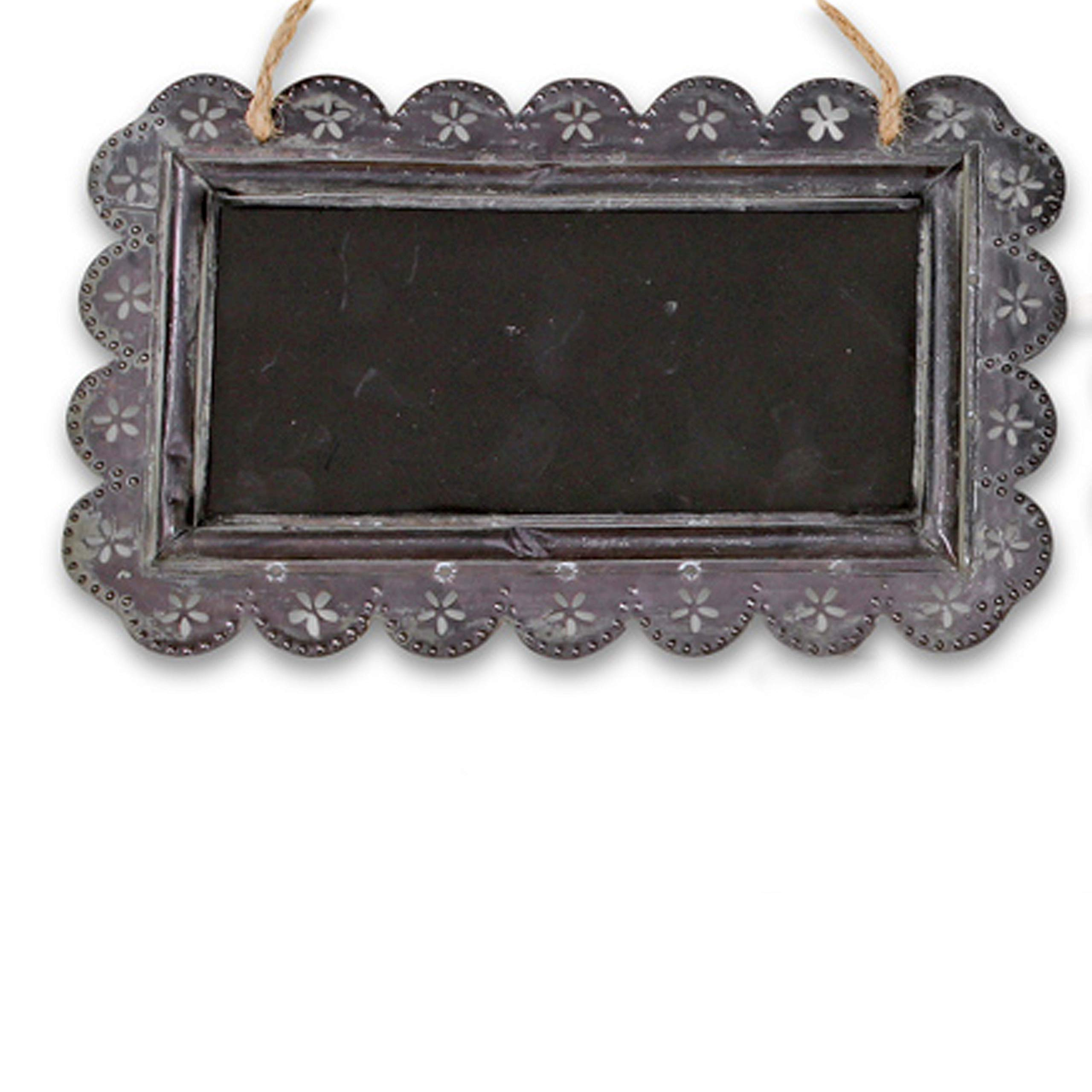 Farmers Market Chalkboard, Galvanized Weathered Metal with Punched Flower Frame, Knotted Twine Hanger, MDF Wood, 15 1/2 x 9 1/2 Inches