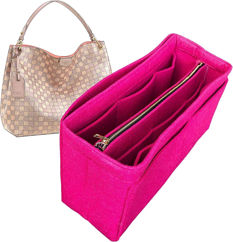 JennyKrafts Compatible for Graceful MM Organizer, Felt Purse Insert Bag Liner Shaper Protector Pouch Tote Organize Handbag (Style B)