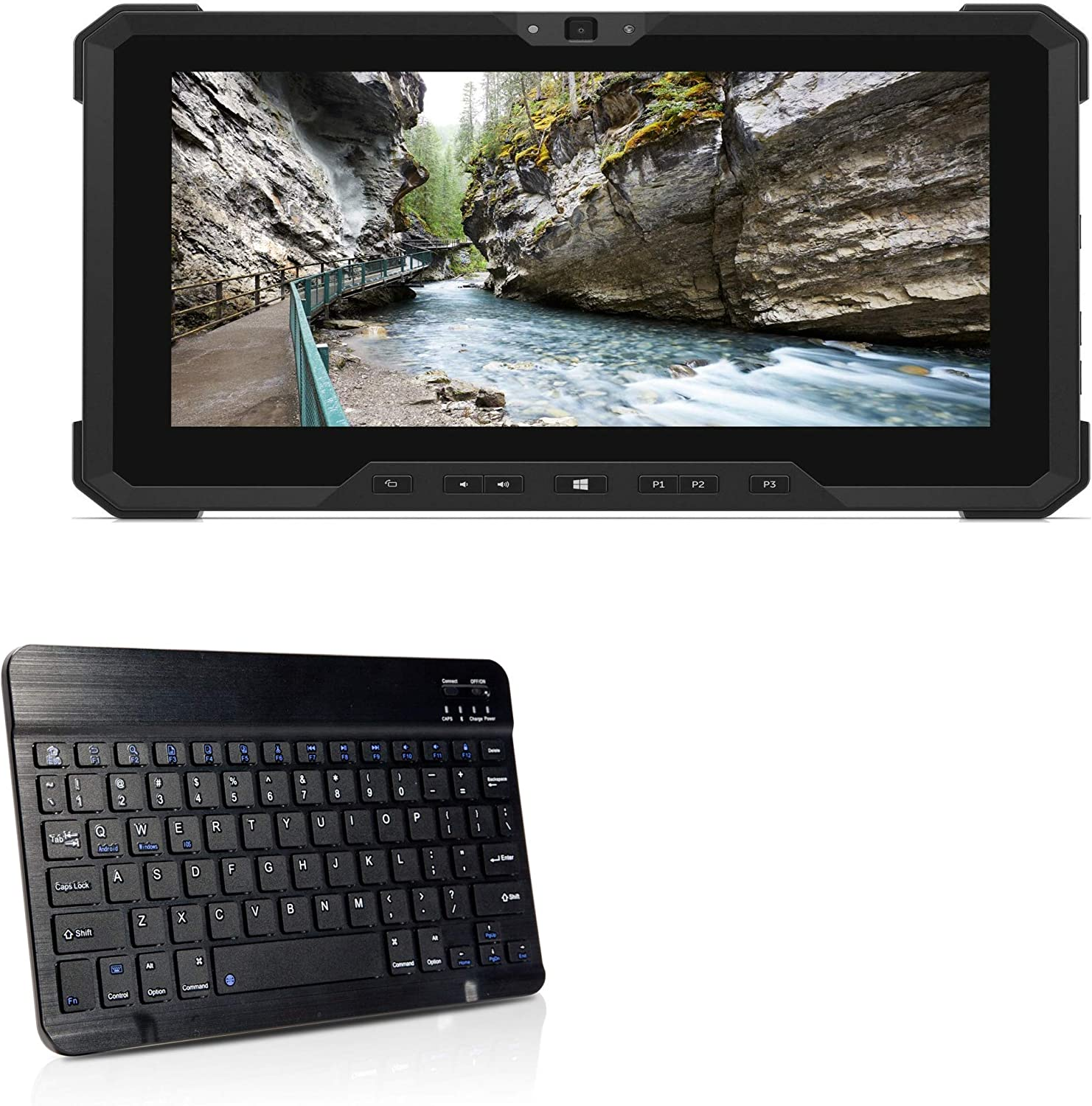 Dell Latitude 7212 Rugged Extreme Tablet Keyboard, BoxWave [SlimKeys Bluetooth Keyboard] Portable Keyboard with Integrated Commands for Dell Latitude 7212 Rugged Extreme Tablet - Jet Black