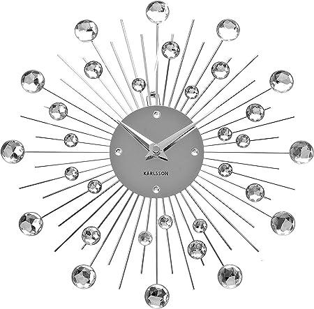 Karlsson KA4860 Horloge Murale Ronde Sunburst Crystal Medium Gris Chrome D30 cm
