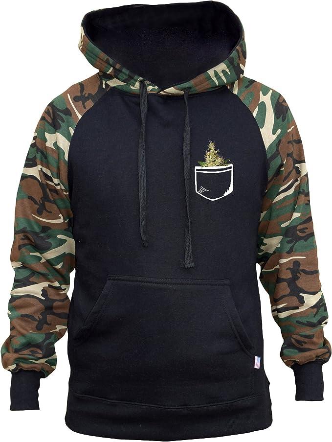 Interstate Apparel Mens Faux Pocket Weed Black Fleece Zipper Hoodie Black