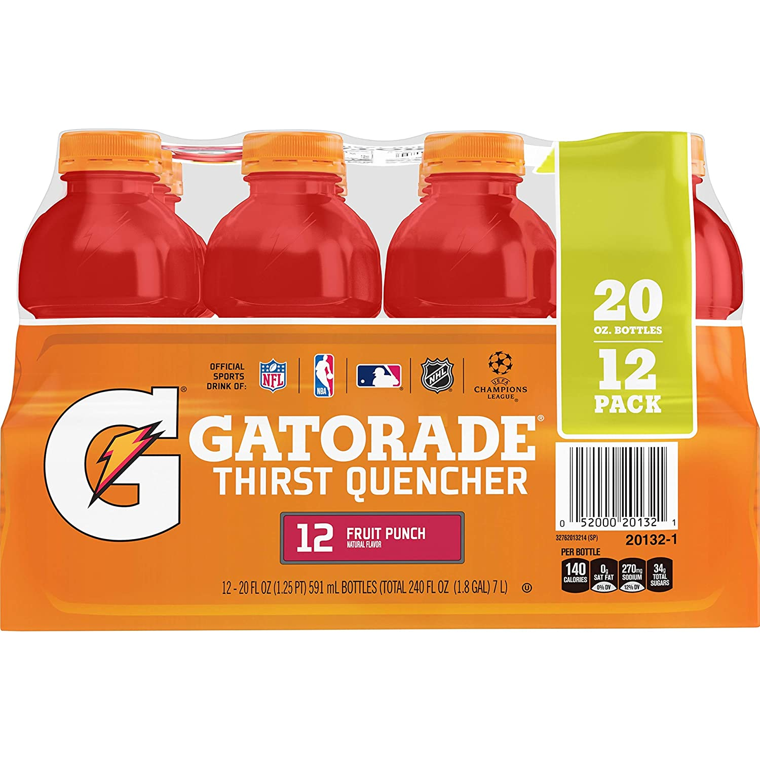 Gatorade Thirst Quencher, Fruit Punch, 20 Ounce Bottles (Pack of 12)