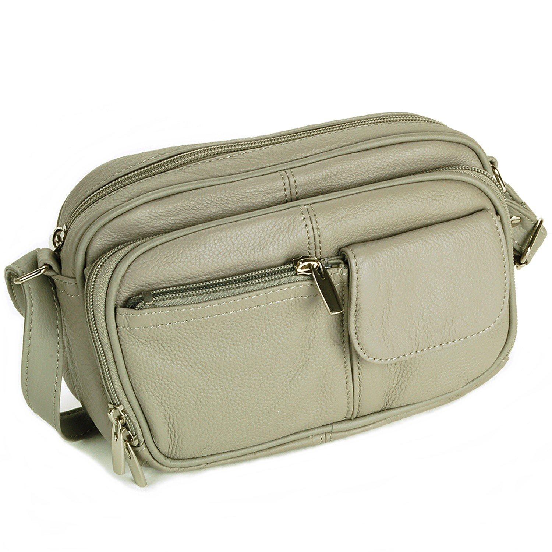 Womens Leather Adjustable Strap Multi Pocket Organizer Cross Body Purse Grey
