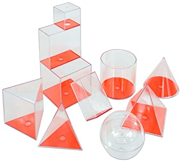 10 Füllkörper, Geometrie Körper Set, Mit Abnehmbarer Grundfläche, Inkl.  Zylinder,