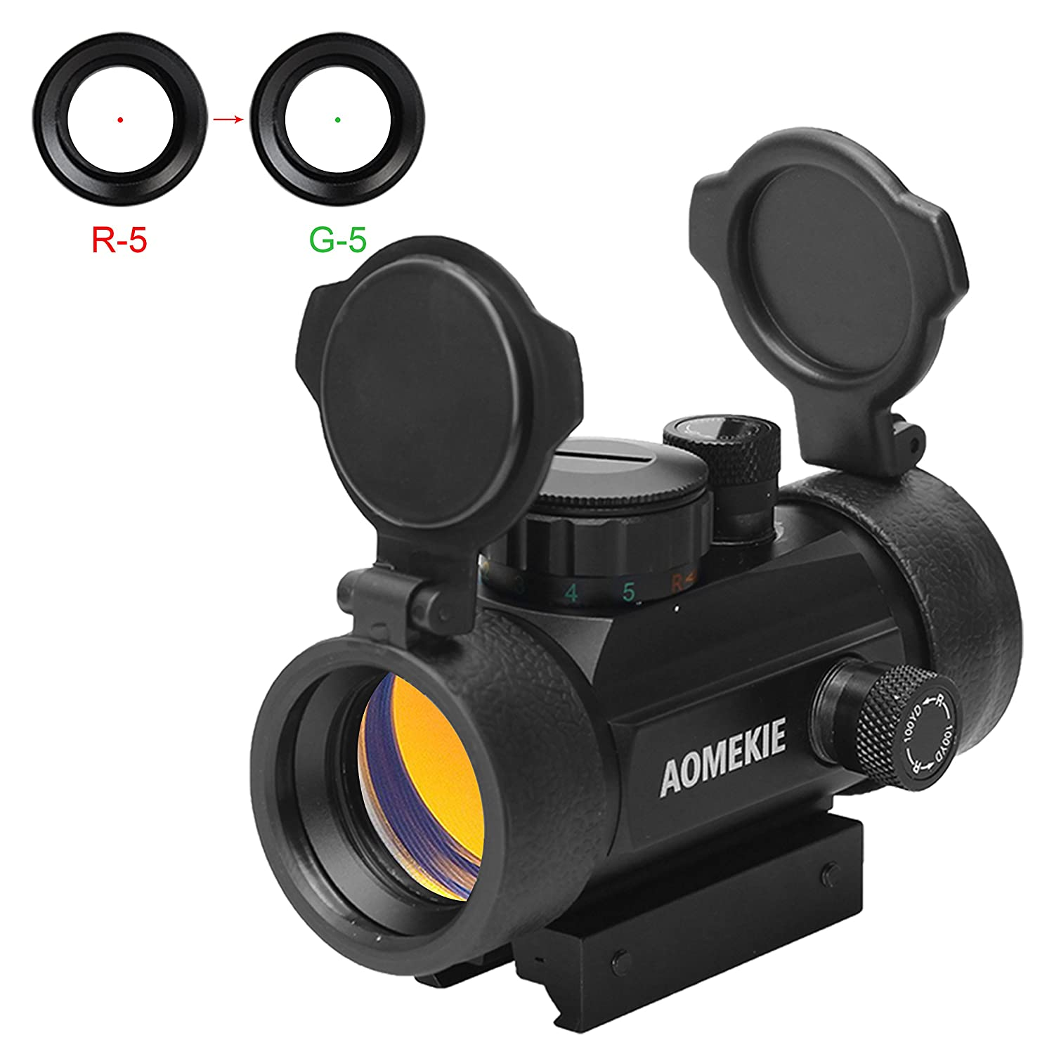 Aomekie 30mm Reflex Red Green Dot Sight Scope with Flip Up Lens Cover Cap