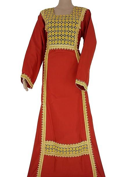 Amazon.com: Vestido árabe islámico de algodón egipcio Abaya ...