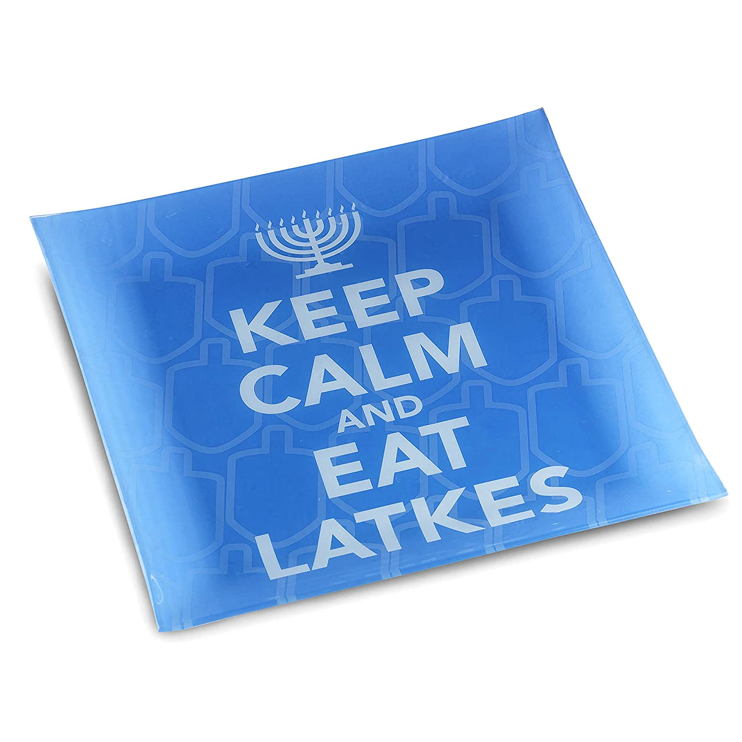 """Chanuka Party and Gift Items Blue /""""Keep Calm and Eat Latkes/"""" Decorative Tempered Glass Plate The Kosher Cook Chanukah Themed Serving Tray"""