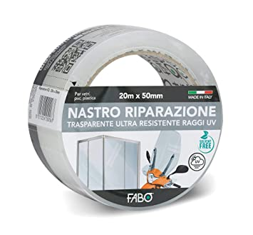Cinta de reparación transparente, 20 m x 50 mm: Amazon.es ...