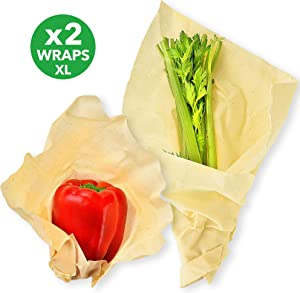 Kiva.World Beeswax Wrap XL Organic Cotton Non Dyed - Reusable Food Storage Beeswax Paper Wraps - Bee Wrap Cloths - Wax Wrap for Sandwich & Fresh Lunch - Eco Food Wrap Set - 2 Extra Large Beeswax Wraps
