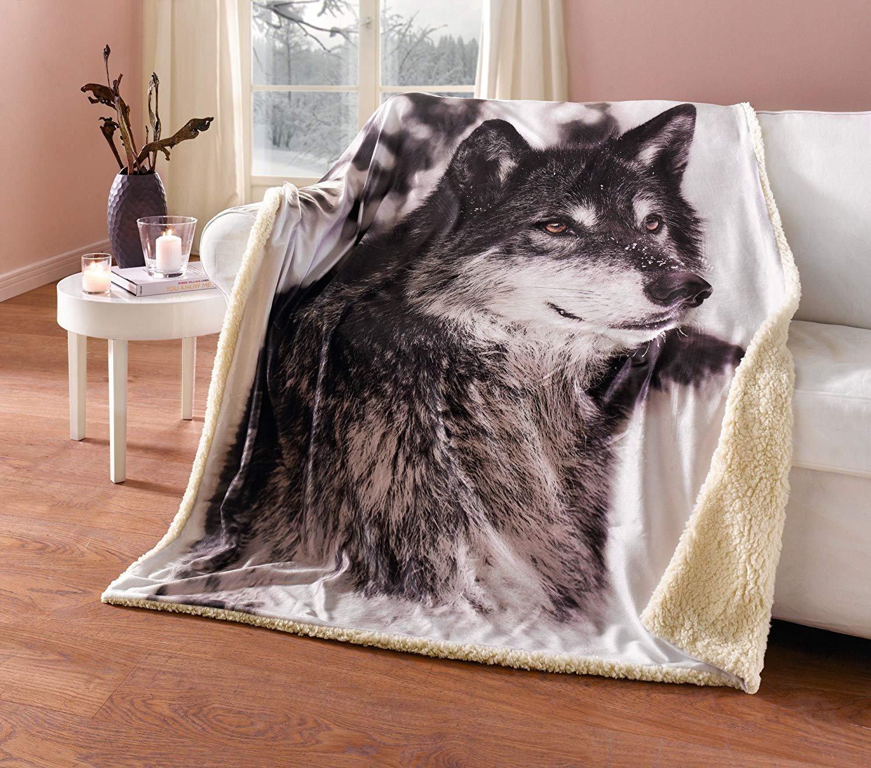 Manta con dibujo de lobo y suave parte trasera, 100% poliéster, 130 x 155 cm: Amazon.es: Hogar