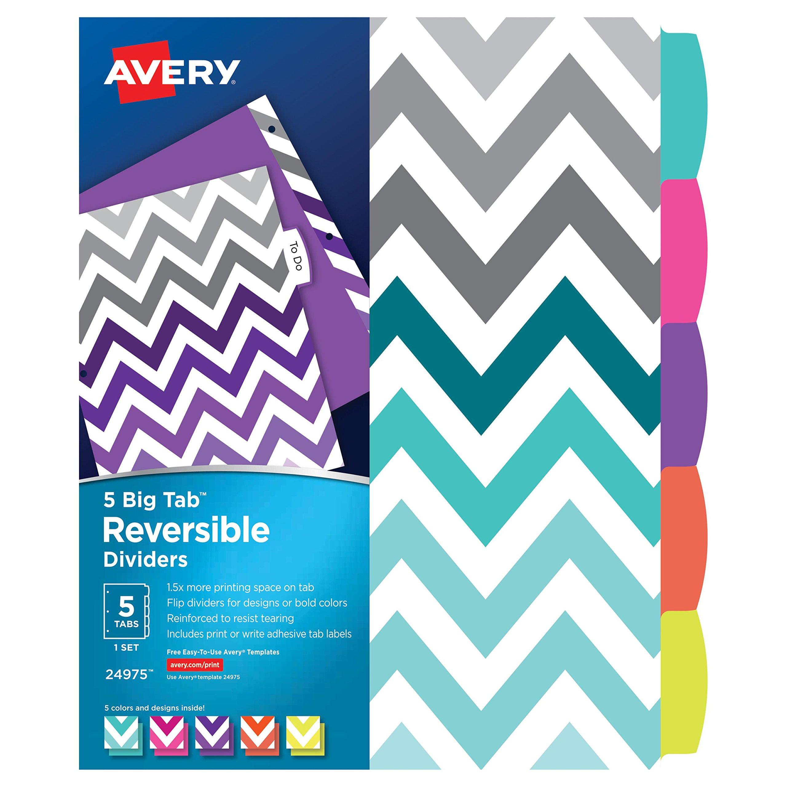 Avery Big Tab Reversible Fashion Dividers, Chevron, 5-Tab Set (24975)