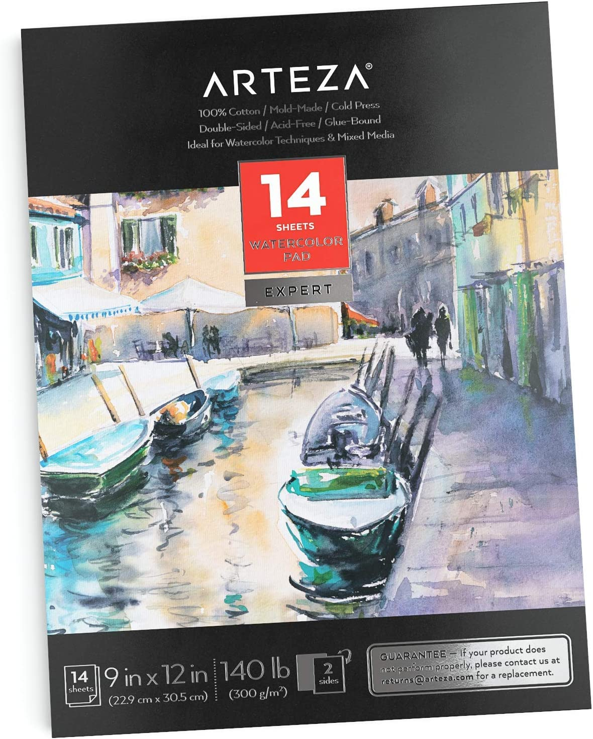 140lb//300gsm Glue Bound Dry /& Mixed Media Arteza 9x12 Watercolor Pad Acid Free Watercolor Paper Pad for Wet Cold Pressed 32 Sheets