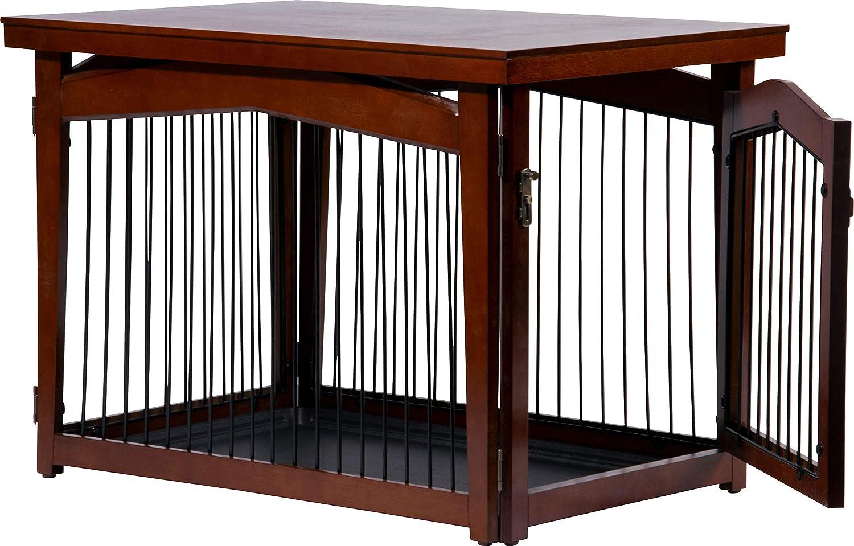 dobar 15 Multi Función Perros Jaula, con Bloqueo de Valla de Madera con  Superficie de Mesa para Interior, Perros Box Indoor Plegable, Color marrón