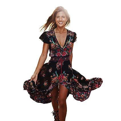 Longra ☆ Vestido Largo Mujer Cuello en V Profundo Floral Cintura Alta Sexy Elegante Traje de