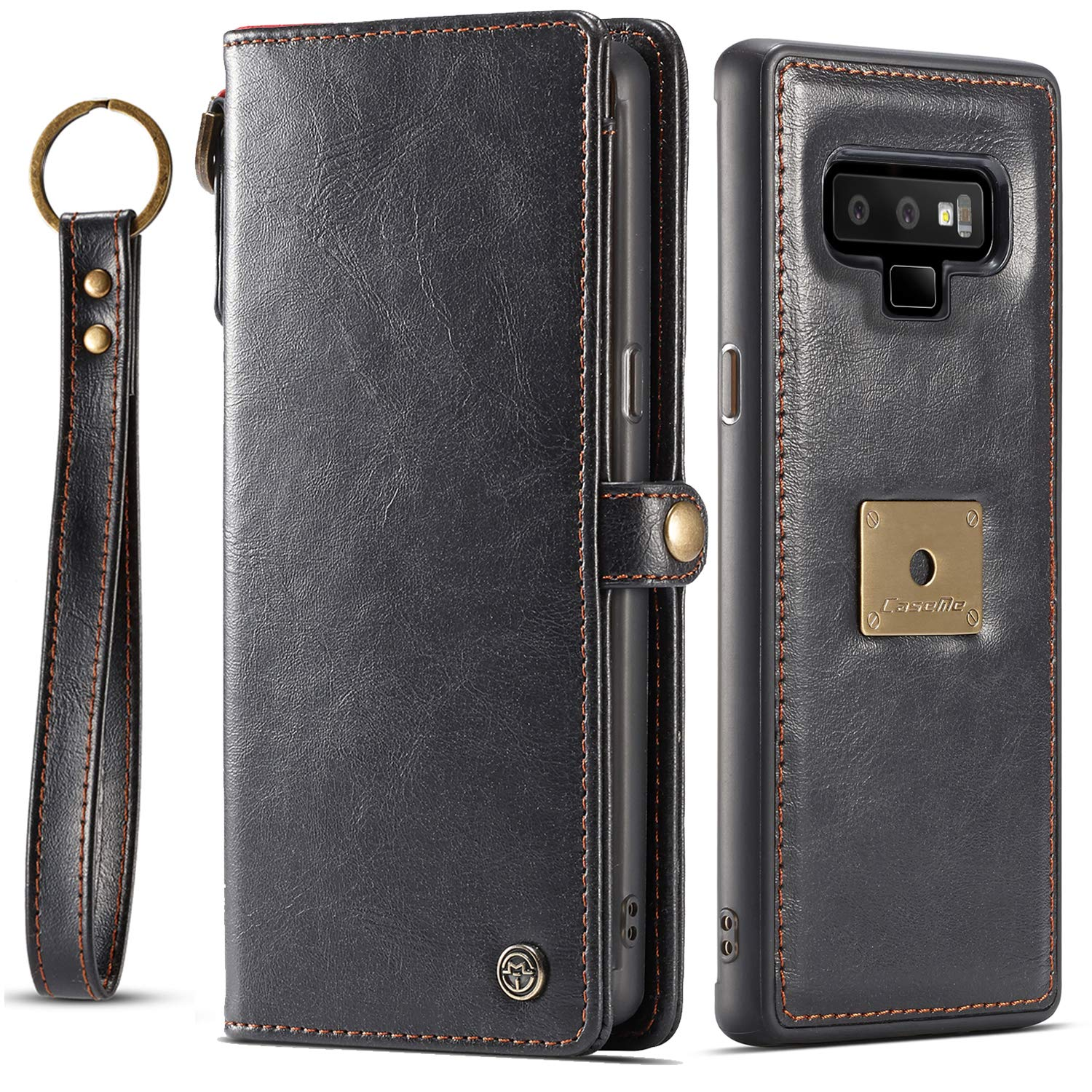 Galaxy Note 9 Case, Samsung Note 9 Case XRPow Detachable Magnetic Leather Wallet Folio Flip Card Slots Removable Slim Cover for Samsung Galaxy Note 9 with Wrist Strap Black by XRPow