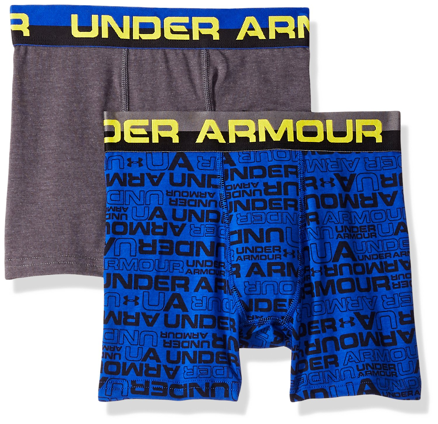 Under Armour Boys 2 Pack Solid Cotton Boxer Briefs, Royal Print/Gray, YLG