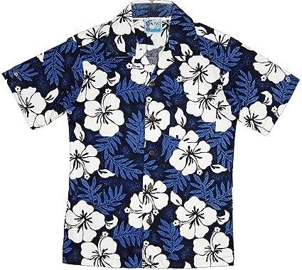 4807a7da5 Amazon.com: RJC Boy's White Hibiscus Hawaiian Shirt in Blue: Button Down  Shirts: Clothing