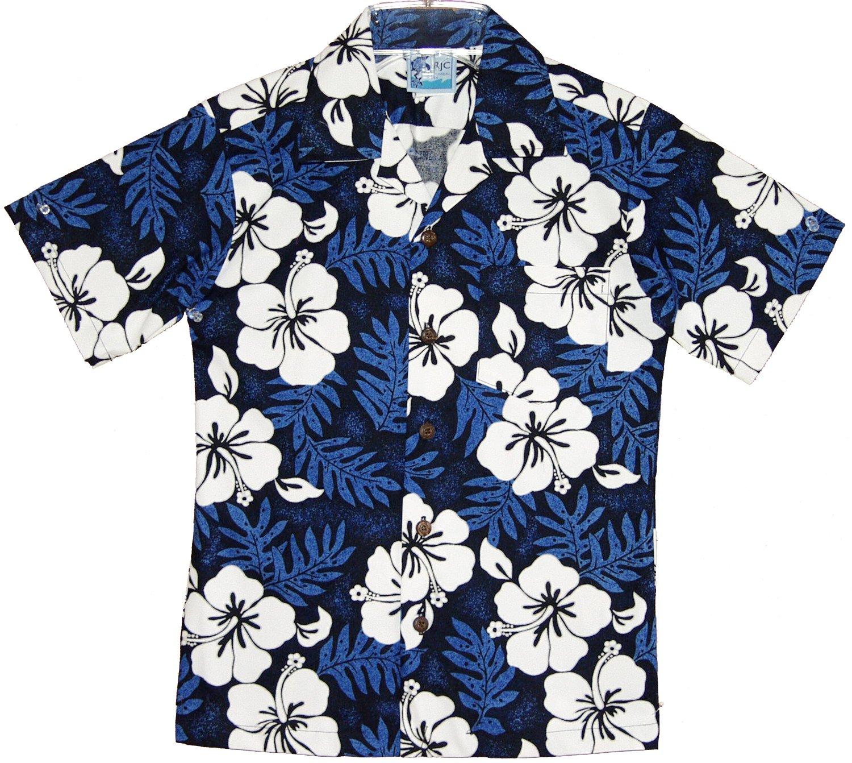 RJC Boys White Hibiscus Fern Shirt in Blue 6