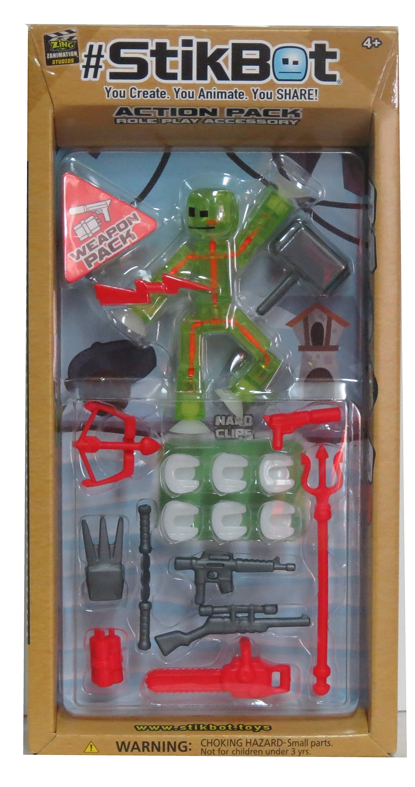 #StikBot Action Pack Figure Roleplay Accessory Set (Green, Weapon Pack)